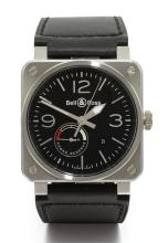 BELL & ROSS | A SQUARE STAINLESS STEEL AUTOMATIC CENTRE SECONDS WRISTWATCH WITH POWER RESERVE AND DATE<br />BR03-97-S-00060 AVIATION TYPE CIRCA 2008