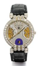 HARRY WINSTON | A PLATINUM AND DIAMOND-SETTRIPLE CALENDAR WATCH WITH MOON PHASES <br />NO 1116 CIRCA 1995
