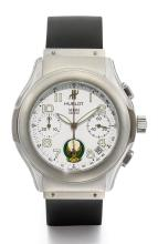 HUBLOT | A STAINLESS STEEL AUTOMATIC CHRONOGRAPH WRISTWATCH WITH REGISTERS, TACHYMETER,DATE AND EMBLEM OF THE UNITED ARAB EMIRATES<br />REF 1810.1 CASE 401857 CIRCA 1995