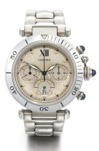 CARTIER | A STAINLESS STEEL CHRONOGRAPH WRISTWATCH WITH REGISTERS, DATE AND BRACELET<br />CASE R40302807 PASHA CIRCA 1995