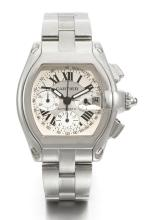 CARTIER | A STAINLESS STEEL TONNEAU-FORM CHRONOGRAPH WRISTWATCH WITH REGISTERS, DATE AND BRACELET<br />CASE 30335CE 2618 ROADSTER CIRCA 2008