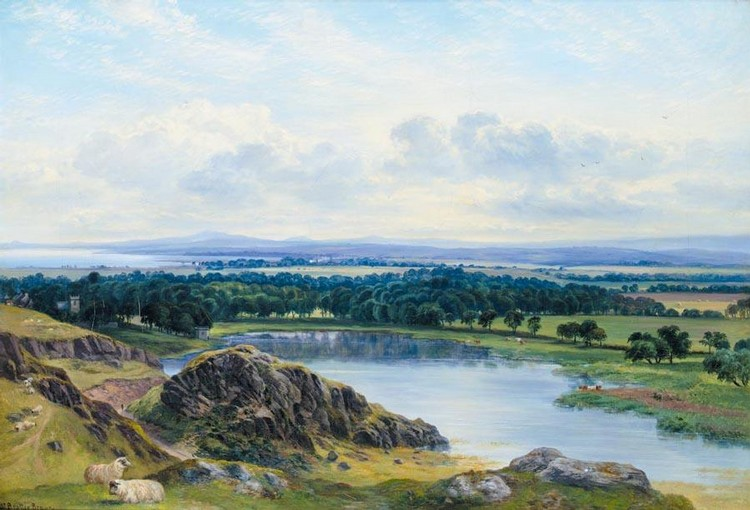 WILLIAM BEATTIE BROWN R.S.A. 1831-1909 DUDDINGSTON LOCH, AUTUMN MORNING