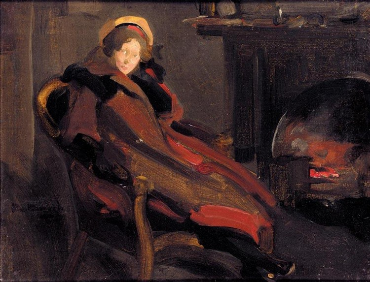 ROBERT BROUGH 1872-1905 A LADY BY THE FIRESIDE