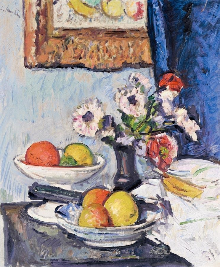 GEORGE LESLIE HUNTER 1877-1931 STILL LIFE OF ANEMONES AND CITRUS FRUIT