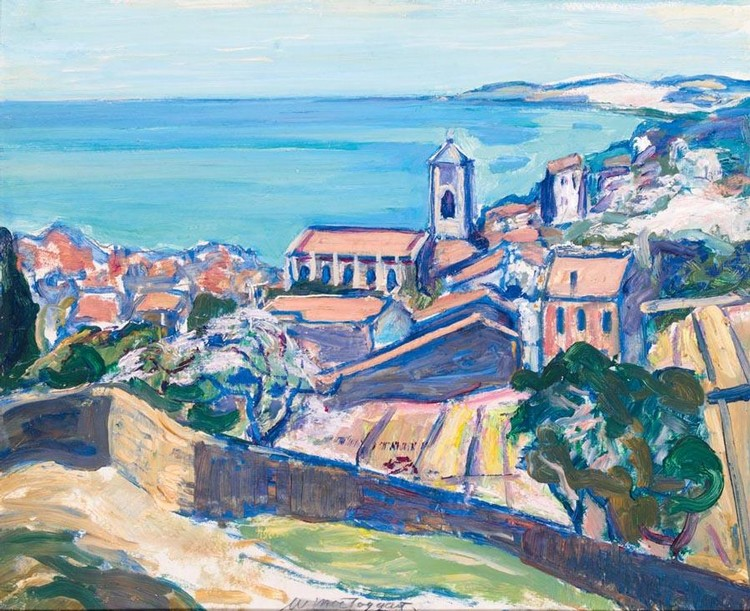 SIR WILLIAM MACTAGGART 1903-1981 BLUE WATERS, A HILLTOP TOWN COTE D'AZURE