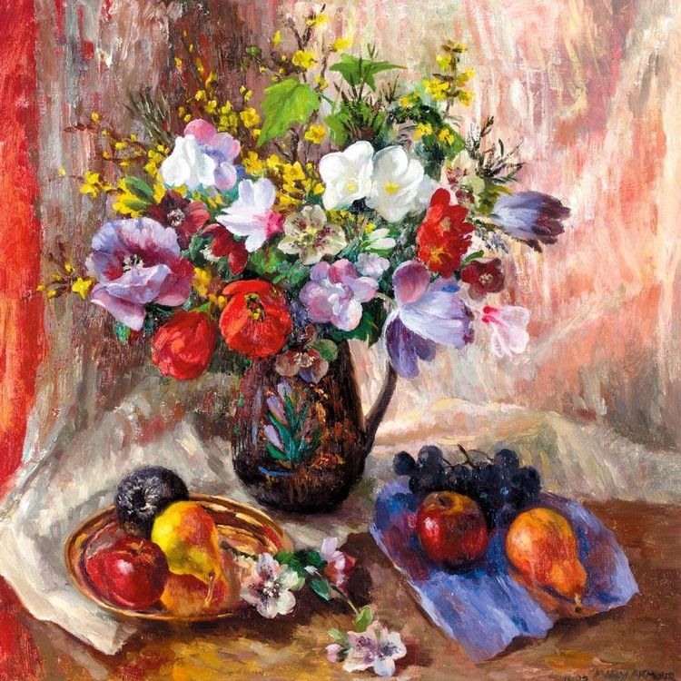 MARY NICOL NEILL ARMOUR 1902-2000 STILL LIFE WITH DARK CHRISTMAS ROSES
