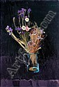 ALEXANDER GOUDIE 1933-2004 DAISIES AND IRISES IN A GLASS JUG, Alexander Goudie, Click for value