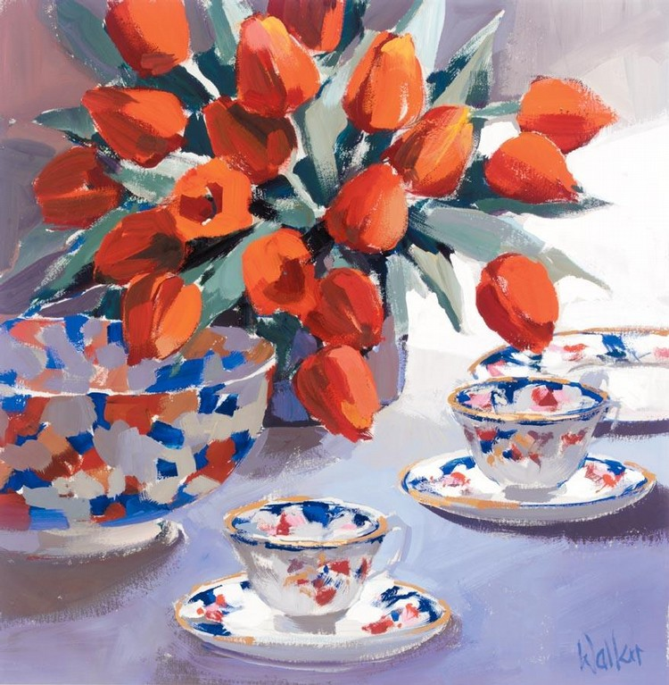 ETHEL WALKER B. 1941 STILL LIFE OF TULIPS AND PORCELAIN