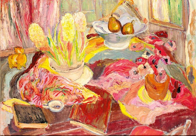 PENELOPE BEATON 1886-1963 STILL LIFE WITH A VASE OF ANEMONES AND A BOWL OF HYACINTHS
