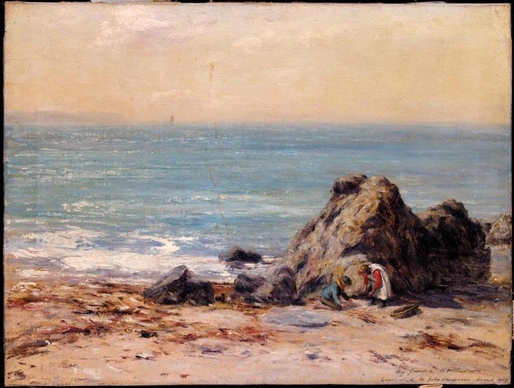JOSEPH HENDERSON 1832-1908 GATHERING SEASHELLS