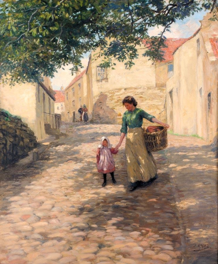 JOHN N. MCGHIE R.S.A., R.S.W. 1867-1952 COBBLED STREETS OF PITTENWEEM