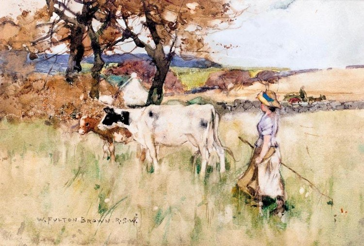 WILLIAM FULTON BROWN, R.S.W. 1873-1905 MOVING PASTURES; RETURNING TO THE CROFT