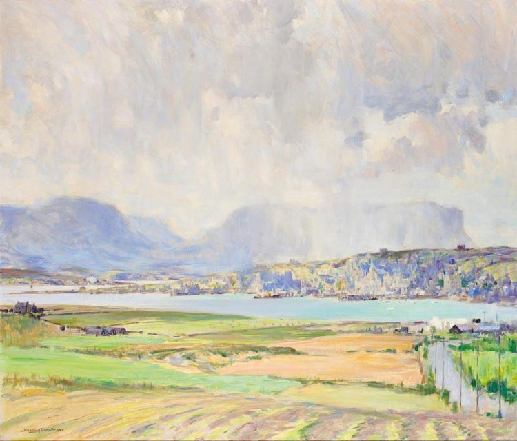 f - STANLEY CURSITER 1887-1976 STROMNESS IN ORKNEY WITH HOY IN THE BACKGROUND