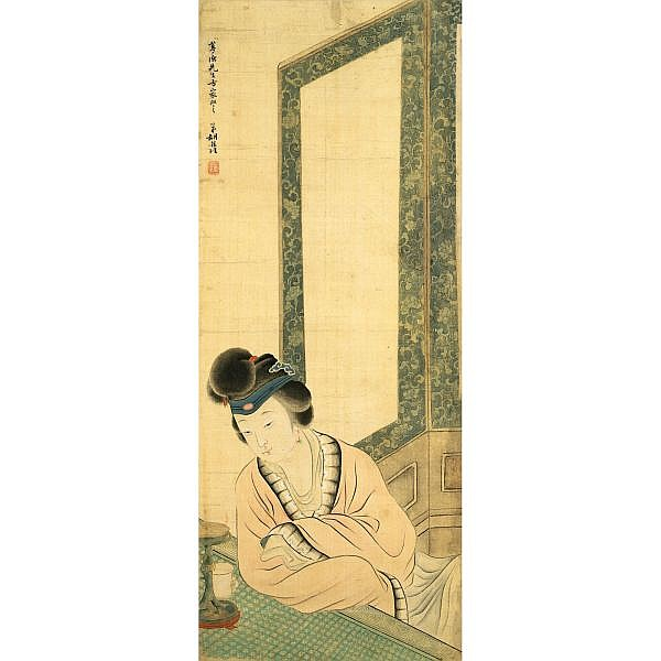 Hu Xigui 1839-1883 , LADY IN HER CHAMBER ink and colour on silk, hanging scroll