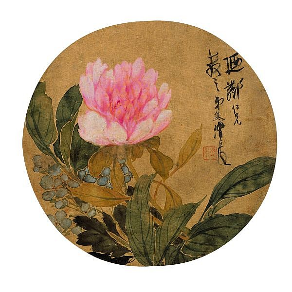 Ren Xiong 1823-1857 , PEONY ink and colour on silk, circular fan leaf, framed