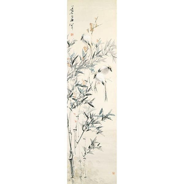 Xu Gu 1824-1896 , BIRDS AND BAMBOO ink and colour on paper, framed