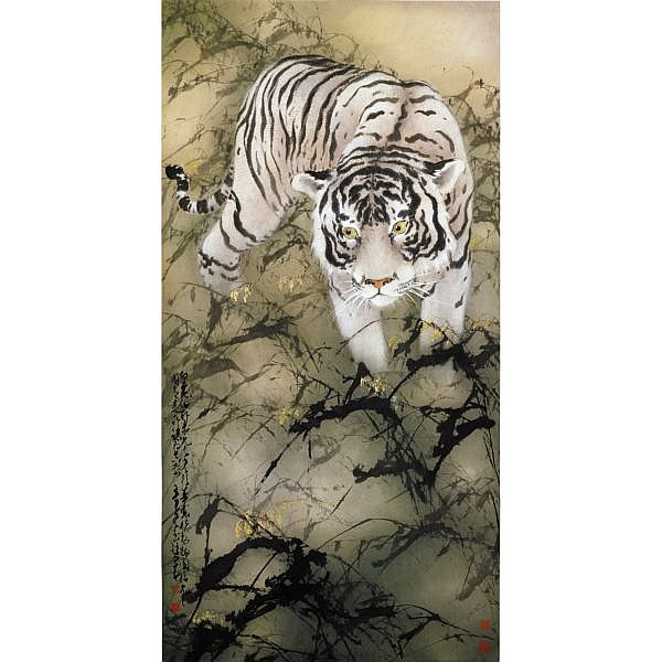 Zhao Shao'ang 1905-1998 , WHITE TIGER ink and colour on paper, framed