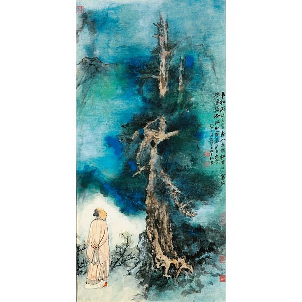 Zhang Daqian (Chang Dai-chien) 1899-1983 , SAGE BY THE PINE splashed ink and colour on paper, framed