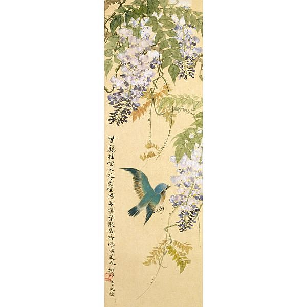 Lu Yifei 1908-1997 , FLOWERS IN FOUR SEASONS ink and colour on paper, set of four, hanging scroll
