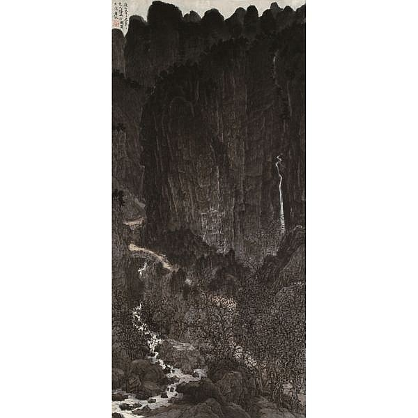 Liu Yanshui B. 1963 , NIGHT MOUNTAIN ink on paper, framed