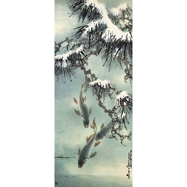 Zhao Shao'ang 1905-1998 , SNOWY POND ink and colour on paper, hanging scroll