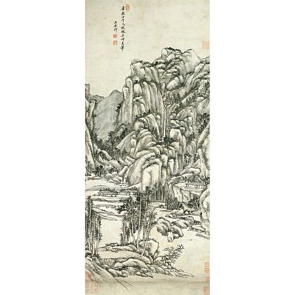 Wang Yuanqi 1642-1715 , LANDSCAPE AFTER WU ZHEN (1280-1354) ink on paper, hanging scroll