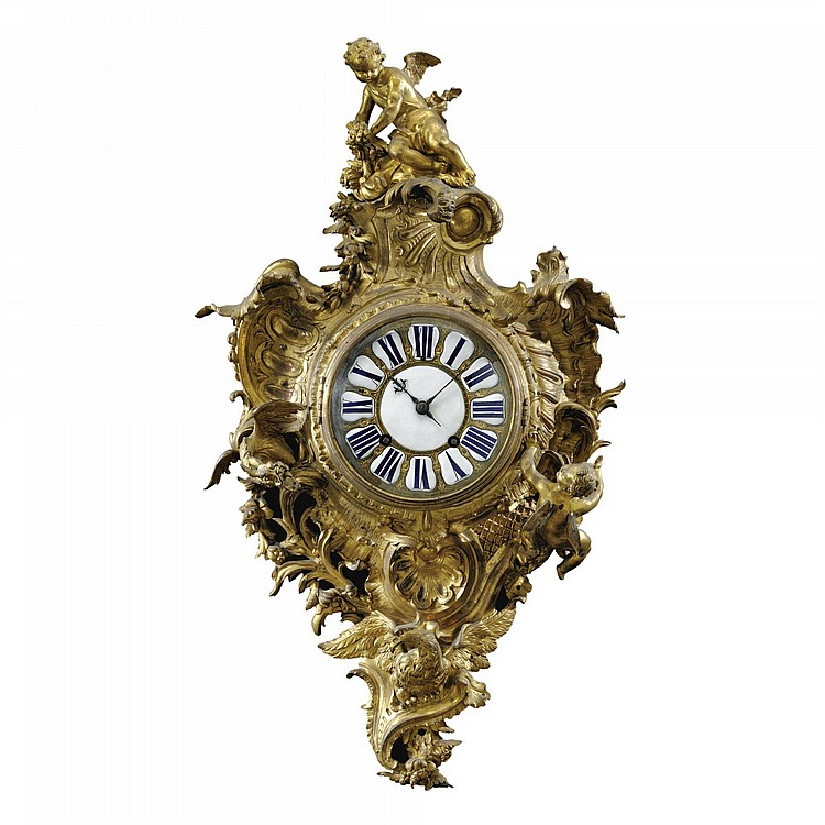 A GILT-BRONZE CARTEL CLOCK ATTRIBUTED TO JACQUES CAFFIÉRI (1678-1755), THE MOVEMENT SIGNED ETIENNE LE NOIR À PARIS LOUIS XV, CIRCA 1735