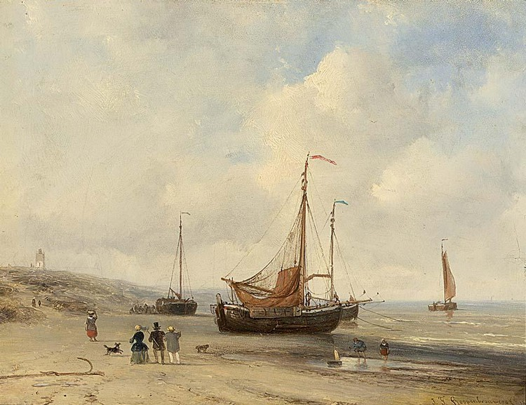 JOHANNES FRANCISCUS HOPPENBROUWERS DUTCH, 1819-1866 ELEGANT FIGURES ON THE BEACH