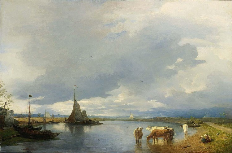 ANDREAS ACHENBACH GERMAN, 1815-1910 WATERING CATTLE IN A RIVER LANDSCAPE