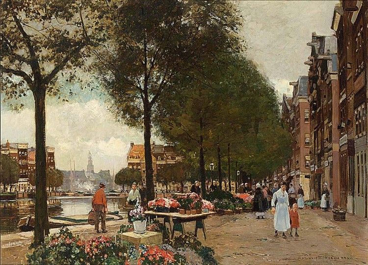 HEINRICH HERMANNS GERMAN, 1862-1942 A VIEW OF THE FLOWER MARKET IN AMSTERDAM WITH THE MUNT TOWER