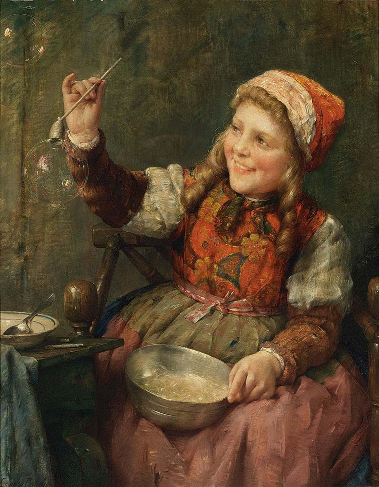EDWARD ANTOON PORTIELJE BELGIAN, 1861-1949 BLOWING BUBBLES