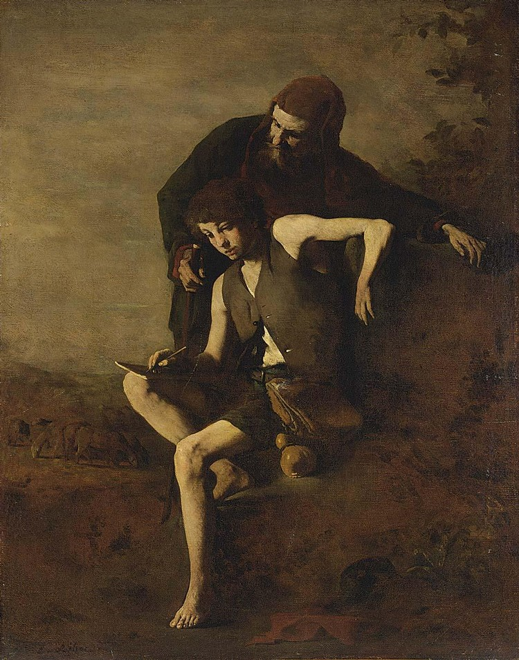 THÉODULE-AUGUSTIN RIBOT FRENCH, 1823-1891 CIMABUE TEACHING GIOTTO TO DRAW