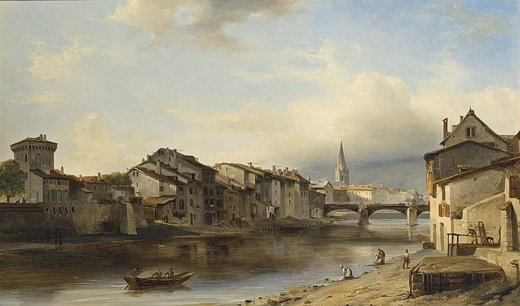 JEAN-ANTOINE THÉODORE GUDIN FRENCH, 1802-1880 A TOWN BY A RIVER