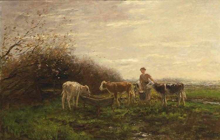 WILLEM MARIS DUTCH, 1844-1910 TENDING THE COWS