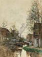 FREDERICUS JACOBUS VAN ROSSUM DU CHATTEL DUTCH, 1856-1917 VILLAGERS BY A WATERWAY IN A DUTCH TOWN, Frederik Jacobus
