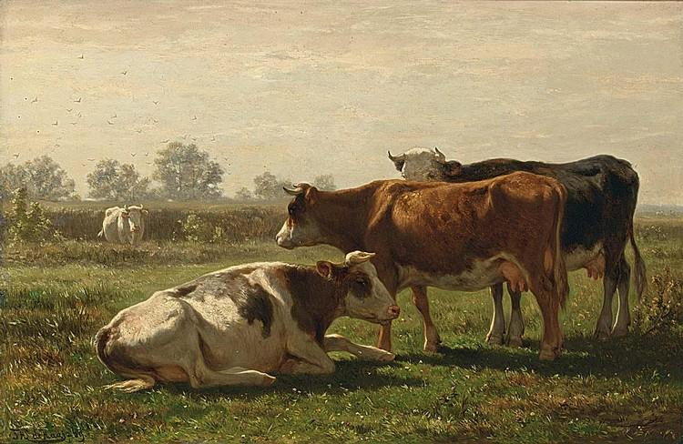 JOHANNES HUBERTUS LEONARDUS DE HAAS DUTCH, 1832-1908 COWS IN A SUMMER LANDSCAPE