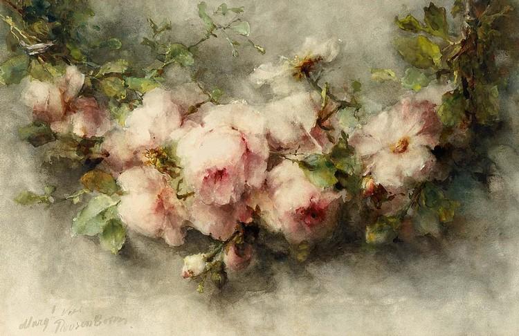 MARGARETHA ROOSENBOOM DUTCH, 1843-1896 A SWAG OF PINK ROSES