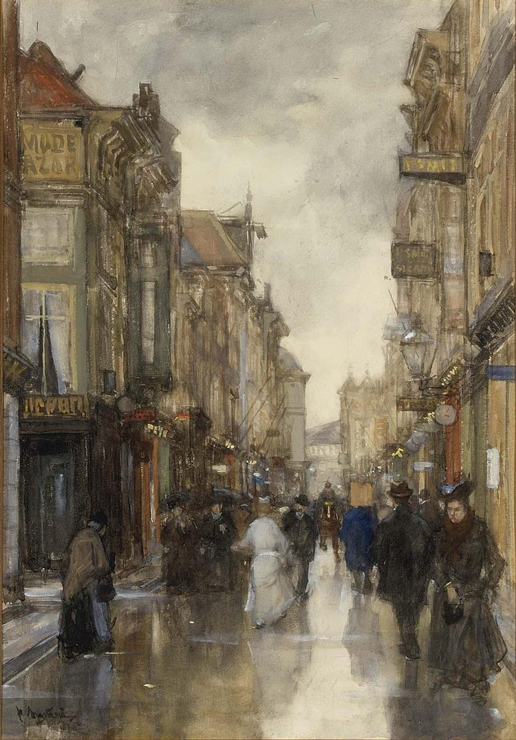 FLORIS ARNTZENIUS DUTCH, 1864-1925 A VIEW OF THE SPUISTRAAT, THE HAGUE