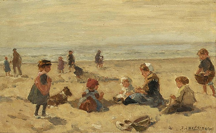 f - JOHANNES EVERT AKKERINGA DUTCH, 1861-1942 CHILDREN PLAYING ON THE BEACH