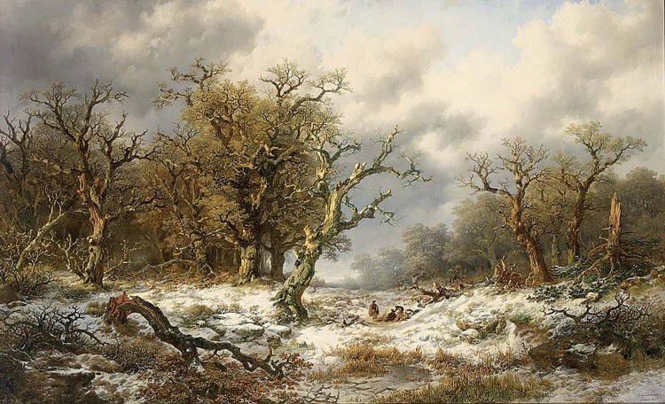REMIGIUS ADRIANUS VAN HAANEN DUTCH, 1812-1894 TRAVELLERS IN AN EXTENSIVE SNOW COVERED LANDSCAPE