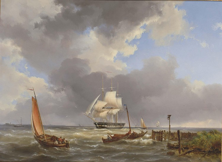 HERMANUS KOEKKOEK SNR. DUTCH, 1815-1882 SHIPPING OFF THE COAST