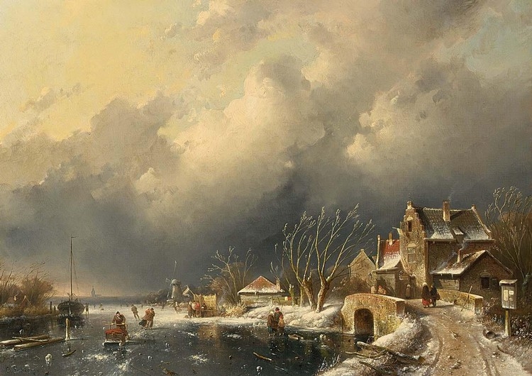 CHARLES LEICKERT DUTCH, 1816-1907 A WINTER LANDSCAPE WITH SKATERS NEAR A ´KOEK EN ZOPIE´