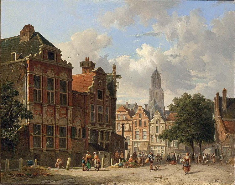 ADRIANUS EVERSEN DUTCH, 1818-1897 MANY FIGURES ON A SQUARE IN UTRECHT