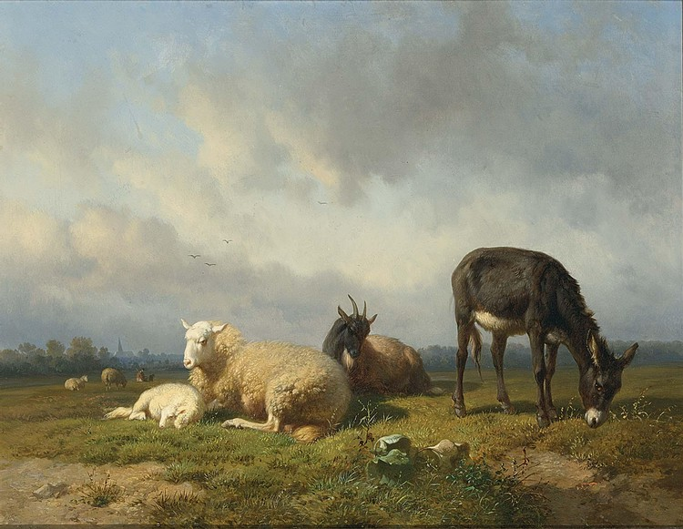 LOUIS MARIE ROBBE BELGIAN, 1806-1887 CATTLE IN A MEADOW, A VILLAGE IN THE DISTANCE