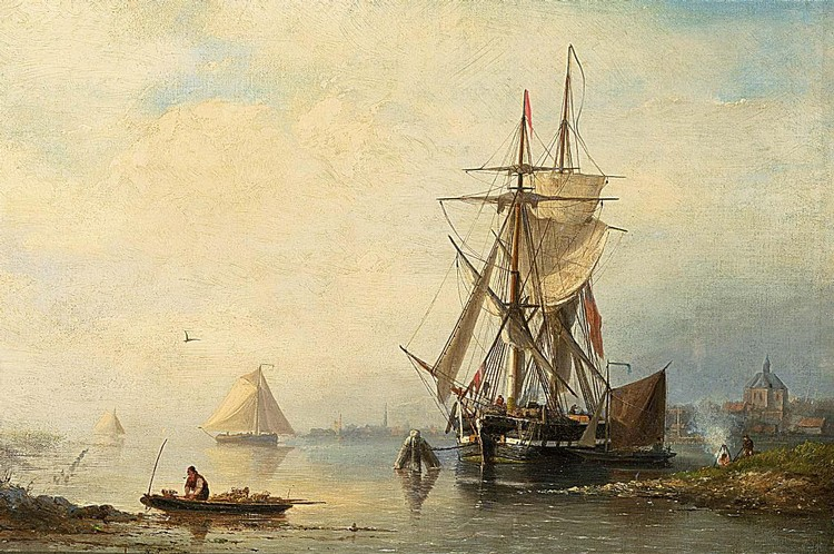 NICOLAAS RIEGEN DUTCH, 1827-1889 SHIPPING IN AN ESTUARY