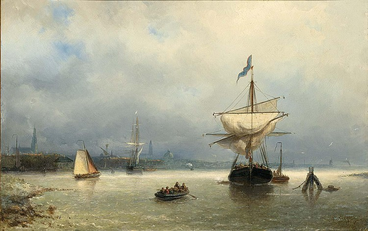 NICOLAAS RIEGEN DUTCH, 1827-1889 SAILING VESSELS IN AN ESTUARY, AMSTERDAM IN THE DISTANCE
