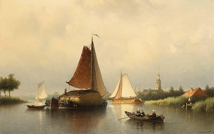 JOHANN ADOLPH RUST DUTCH, 1828-1915 THE HAY BARGE