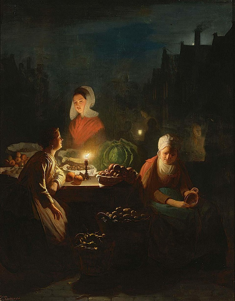 JOHANNES ROSIERSE DUTCH, 1818-1901 A VEGETABLE SELLER BY CANDLELIGHT