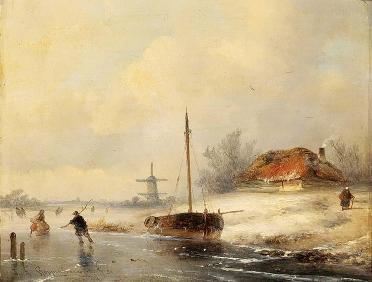 JOHANNES FRANCISCUS HOPPENBROUWERS DUTCH, 1819-1866 SKATERS ON A FROZEN WATERWAY