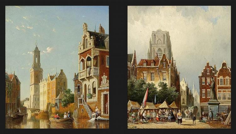 WILLIAM RAYMOND DOMMERSEN DUTCH, 1850-1927 A MARKET SCENE IN ROTTERDAM, THE LAURENTIUS CHURCH IN